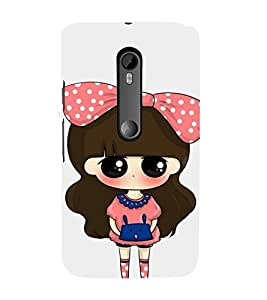 Cute Girl with Dotted Frock and Cack 3D Hard Polycarbonate Designer Back Case Cover for Motorola Moto G3 :: Motorola Moto G 3rd Gen :: Motorola Moto G Gen 3 :: Motorola Moto G Dual SIM 3rd Gen :: Motorola Moto G3 Dual SIM