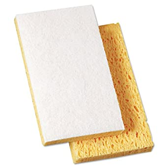 """Premiere Pads PAD 163-20 Light Duty Cellulose Scrubbing Sponge with Scour Pad, 6-3/32"""" Length by 3-19/32"""" Width, 0.7"""" Thick, Yellow/White (Case of 20)"""