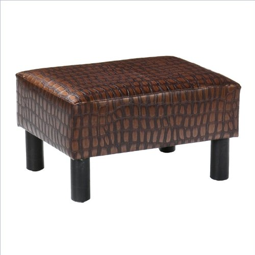 Southern Enterprises Alligator Print Foot Stool in Faux Leather Finish