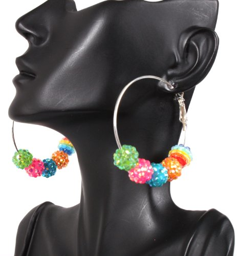 Multicolor Basketball Wives Hoop Earrings with 5 Iced Out Disco Balls Poparazzi