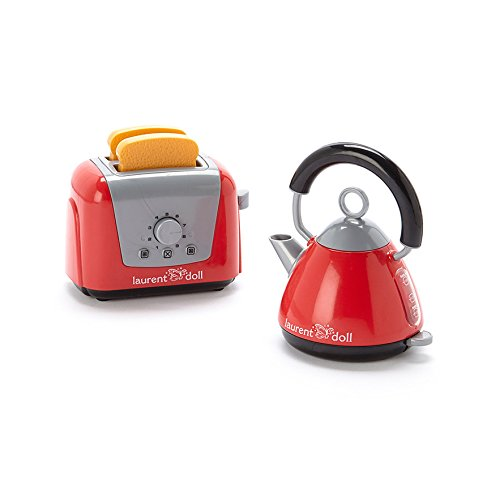 18 doll tea kettle and pop up toaster set fits american for Kitchen set kettle toaster