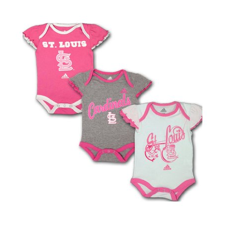 adidas St. Louis Cardinals Baby Girls Pink 3-Pack Creeper Set (6/9 Months) at Amazon.com
