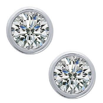 0.68 Ct Lady'S Bezel Set Round Cut Diamond Stud Earrings In 14 Karat White Gold Screw Back