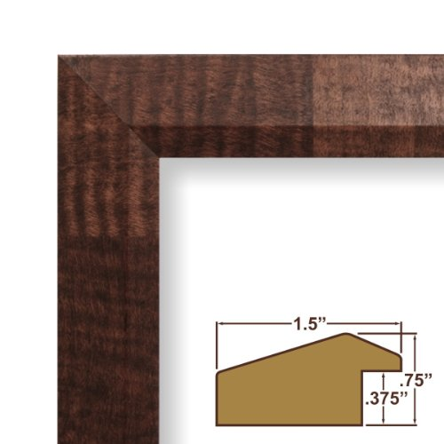 """18x22 Custom Picture Frame / Poster Frame 1.5"""" Wide Complete Walnut Parquet Brown Frame (17041)"""