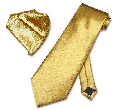 Solid Gold Color NeckTie Handkerchief Matching Set Neck Tie