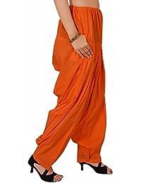 BILOCHI'S Women Cotton Solid Orange Patiala Salwar Dupatta Set Free Size