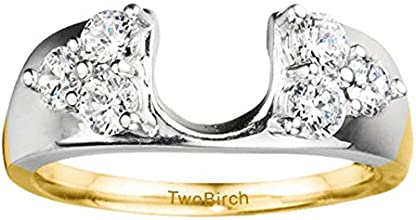 10k Gold Three Stone Anniversary Ring Wrap with Charles Colvard Created Moissanite 024 ct twt