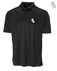 Chicago White Sox Mens DryTec Sullivan Embossed Polo Shirt Black by Cutter & Buck