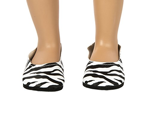 Springfield Collection by Fibre-Craft - Zebra Ballet Flats - Fits All 18-Inch Dolls - Mix and Match - For Ages 4 and Up - 1