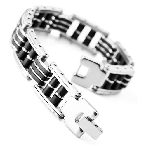 Justeel Jewellery Stainless Steel Bangle Bracelet Cuff Chain Men Silver Black Rubber Link