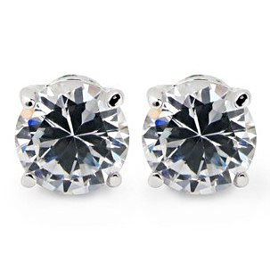 Hoter Men's Titanium Plated Stud Earrings set with Sparkling Crystal (Price/Set), Gift Box