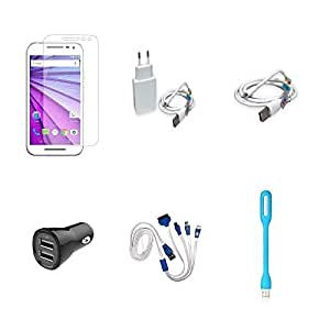 High Quality Combo of Moto G3 Temper Glass + 2 Amp USB Charger + USB Data Cab...