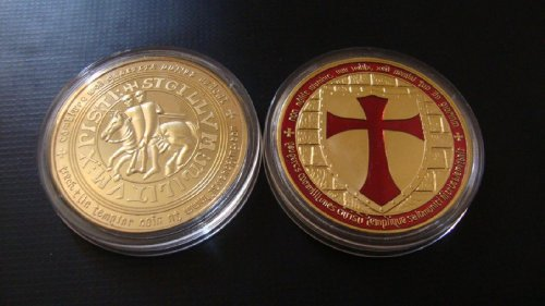 1 Ounce Knights Templar Cross Masonic Mason Gold Coin + Case