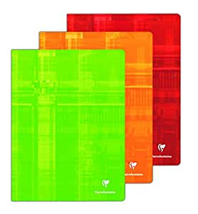 Clairefontaine Lot de 3 Metric Cahier grands carreaux sans spirales 24x32cm Coloris assortis