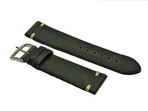 Fluco - Cinturino in pelle vintage (shabby chic) nero/grigio 20 mm cucito a mano - Prodotto in Germania