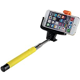 Bolkin® Selfie Stick with Extendable Wireless Bluetooth Remote for Iphone 6 / Plus / 5s / 5c / 5 / 4s / 4 , Samsung Galaxy Smartphone (Yellow)