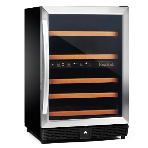 KingsBottle 50 Bottle Dual Zone Wine Cooler, Stainless Steel