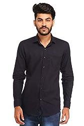Snoby black plain paper cotton shirt SBY8079