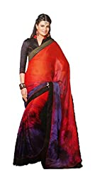 Ambica Women's Chiffon Saree(MG00006_Multicolor_FreeSize)