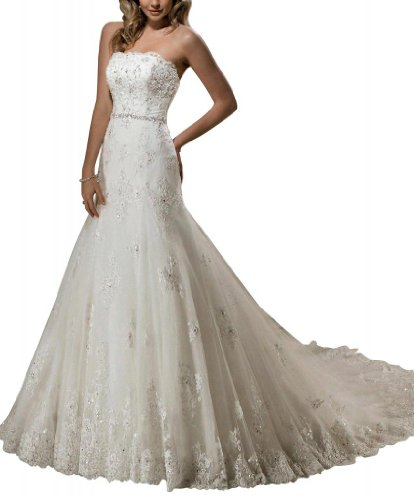 GEORGE BRIDE Charmig Lace Over Satin With Beaded Waist Wedding Dress Size 8 White
