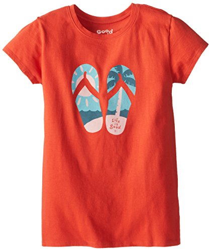 Life Is Good Girl'S Palm Tree Flip Flops Easy Tee (Chili Red), Medium front-220186
