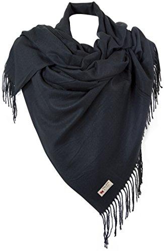 RW Fashion, delle donne Sciarpa - scialli, classico Cashmere & viscosa, - uni - STU700 (Nero)
