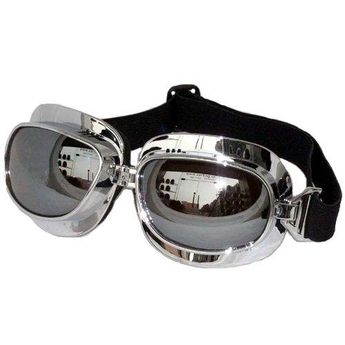 GLX Helmets GLX Aviator Goggles with Silver Lens (Black)