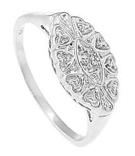 Sterling Silver Filigree Design Princess Promise Ring Size (6)