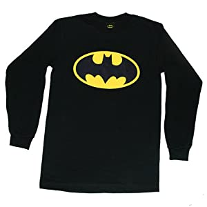 """BATMAN """"CLASSIC LOGO LONG SLEEVES"""" DC Comics Licensed Black L/S Cotton Tee from Trevco"""