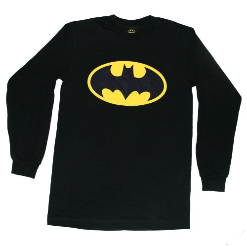 "BATMAN ""CLASSIC LOGO LONG SLEEVES"" DC Comics Licensed Black L/S Cotton Tee from Trevco"