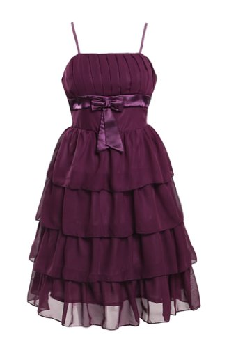 UUstar® Damen Chiffon Abendkleid CocktailKleid Empire-Taille Abendkleid Formelle Mini-Kleid für Party Hochzeit (E 34 36 38, Lila)