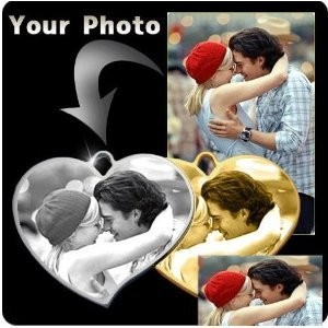 PERSONALIZED CUSTOM PHOTO Dogtag HEART pendant Necklace DogTag or KeyChain -Free Chain&Giftbox