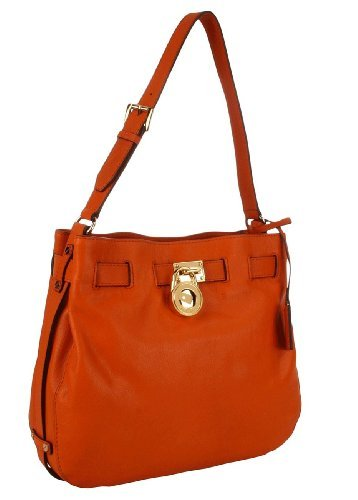 Michael Kors Hamilton Large Leather Shoulder Handbag, Tangerine