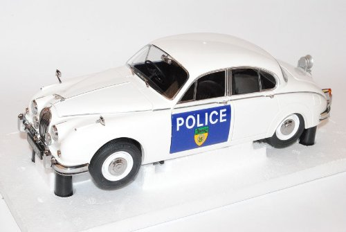 Jaguar Mark 2 MK2 Limousine Weiss Polizei LeicesteRShire and RutLand Constabulary 1/18 Model Icons Modell Auto
