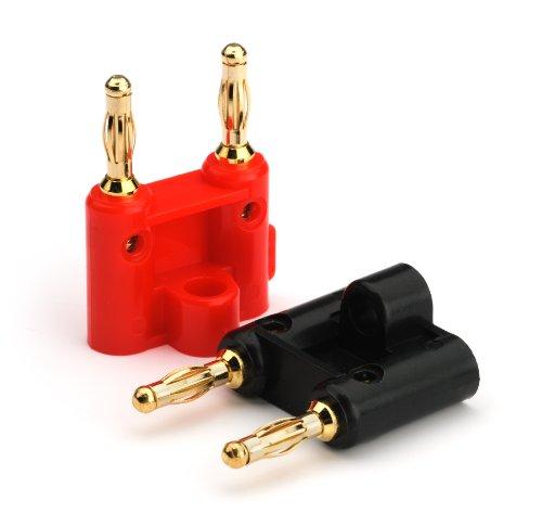 Aurum Dual Tip Banana Plugs - 24K Gold - 18 Pairs (9 Red, 9 Black)