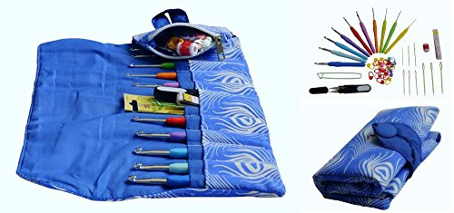 EXCELLENT CROCHET HOOK KIT w/ our 10 VERY POPULAR Hooks Sizes w/ Ergonomic Handles for EXCEPTIONAL COMFORT, ULTRA PREMIUM & MOST LOVED FABRIC Needle Case Organizer w/ Zipped Pocket ALL YOU NEED-IN-ONE