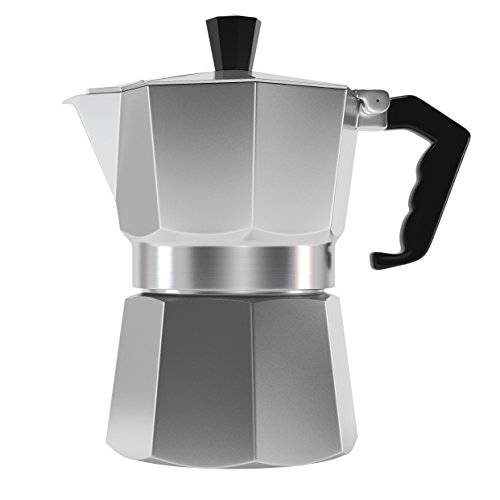 Classic 6 Cup Capacity Stovetop Italian Moka Espresso Maker. Best Polished Aluminium Pot for Camping or Outdoor Gifts with Permanent Filter, Heat Resistant Handle & Large Water Pot. Ideal to Brew Coffee in Your Home Kitchen and Serve in Your Mug