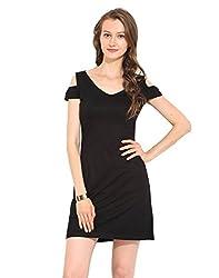 Black Viscose Jersey Skater Dress Medium