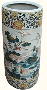 18 High Rustic Chinese Porcelain Umbrella Stand With Painted Cranes Lilies Design by oriental furnishings club inc.