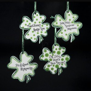 3.5&quot; PORCELAIN IRISH SHAMROCK ORNAMENT