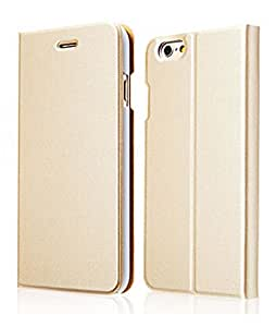 Ultra Slim Flip Bracket Cover Case for iPhone 6 4.7 Inch - Premium Soft PU Leather [ Wallet ] Case Cover for iPhone 6 4.7 Inch (2014 New Release) (Gold)