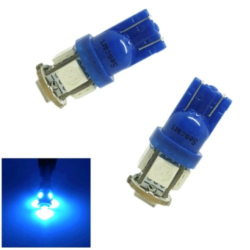 2X T10 5-Smd 5050 Led Blue Lights Bulbs For 194 168 W5W Interior,Door, License Plate, Parking Lights