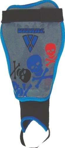 Vizari Skulls Soccer Shin Guards (Blue/Silver, Adult Medium)
