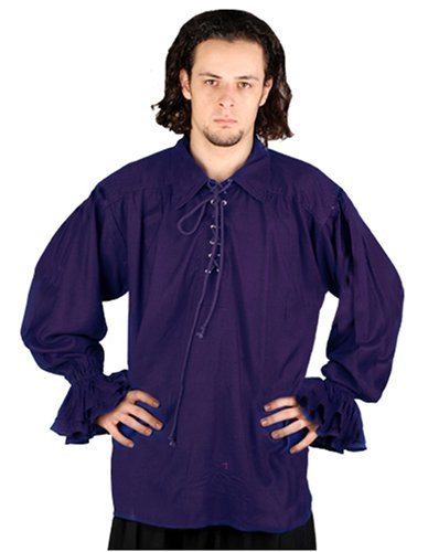 ThePirateDressing Pirate Gothic Renaissance Medieval Costume Shirt (Small / Medium, Royal Blue)