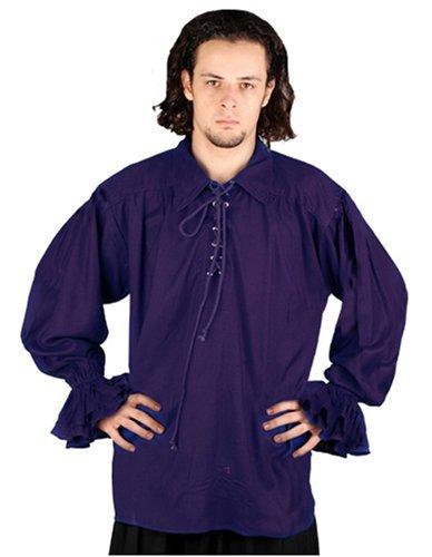ThePirateDressing Pirate Gothic Renaissance Medieval Costume Shirt (Small / Medium, Royal Blue)