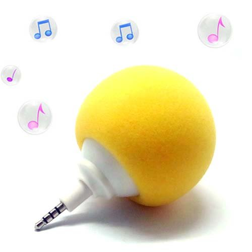 Yellow 3.5Mm Audio Dock Mini Speaker Player For Cell Phone Ipod Touch Mp3