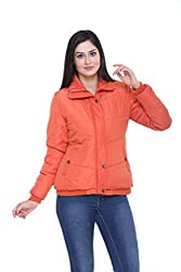 Trufit Full Sleeves Solid Women's Orange Polyester Basic Casual Bomber Jacket