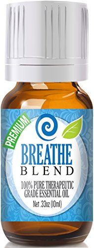 Breathe Blend 100% Pure, Best Therapeutic Grade Essential Oil - 10ml - Comparable to Doterra Breathe, Young Living Raven, Eden's Exhale, Inhale, Respiratory and Sinus Relief - Breathe Easy / Easier - Peppermint, Rosemary, Lemon, Eucalyptus (Breathe Easy Essential Oil compare prices)
