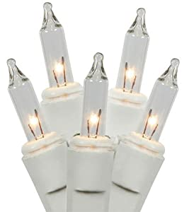 Set of 35 Clear Everglow Mini Christmas Lights - White Wire