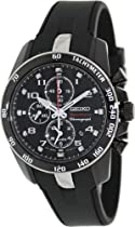 Seiko Sportura Black Dial Black Steel Black Rubber Chronograph Mens Watch SNAE89